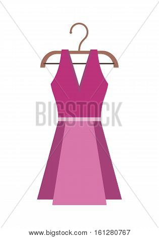 Purple female dress on a wooden hanger. Purple female cocktail party dress. Purple summer dress on hanger. Isolated object on white background. Vector illustration.