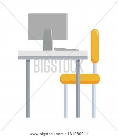Typical working place isolated on white. Table, chair and computer monitor from back view. Strategic management concept. Minimalist accurate design of working place in office. Vector illustration