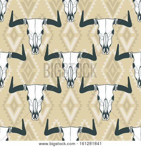 Vector Seamless Pattern With Hand Drawn Buffalo Skulls. Tribal Style Geometric Ornament.