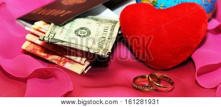 honeymoon trip, honeymoon, golden wedding rings, red heart
