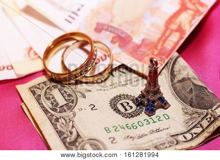 honeymoon trip, honeymoon, Paris travel, money and wedding rings