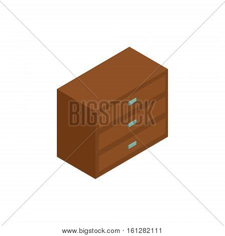 Wardrobe isometric icon or logo. 3d vector illustration of wardrobe. Isometric vector furniture. Element of home interior for web design, mobile app, infographic. Vector isometric icon of waardrobe