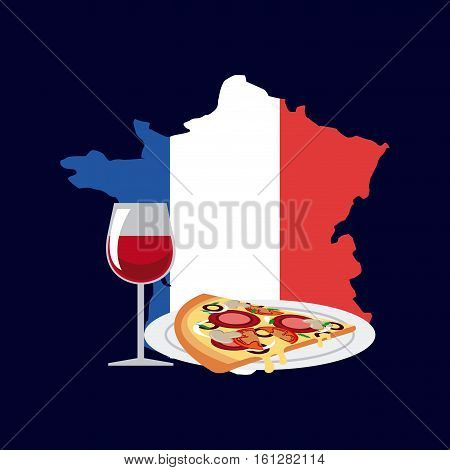 slice of pizza and glass of wine over france country map with flag colors. colorful design. vector illustration