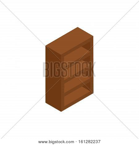 Bookcase isometric icon or logo. 3d vector illustration of bookcase. Isometric vector furniture. Element of home interior for web design, mobile app, infographic. Vector isometric icon of bookcase
