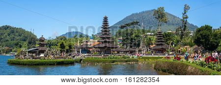 Bali, Indonesia - August 9, 2016: Panorama view of the Pura Ulun Danu temple on a lake Beratan in Bali ,Indonesia