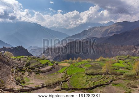 Beautiful mountain landscape of Muktinath village in lower Mustang District, Nepal.