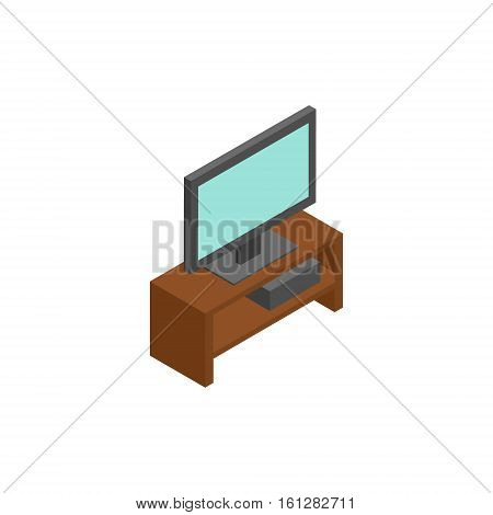 TV isometric icon or logo. 3d vector illustration of TV. Isometric vector furniture. Element of home interior for web design, mobile app, infographic. Vector isometric icon of TV.