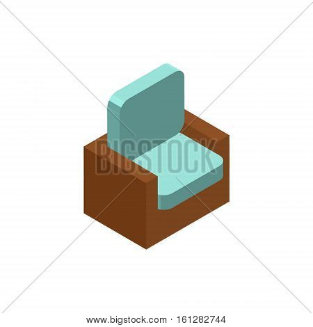 Chair isometric icon or logo. 3d vector illustration of chair. Isometric vector furniture. Element of home interior for web design, mobile app, infographic. Vector isometric icon of chair