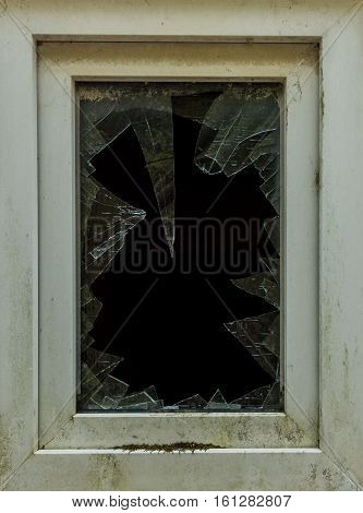 The Old Broken Glass Window Of A Building