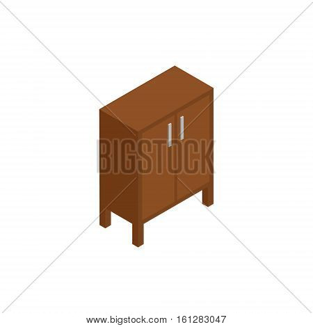 Cabinet isometric icon or logo. 3d vector illustration of cabinet. Isometric vector furniture. Element of home interior for web design, mobile app, infographic. Vector isometric icon of cabinet