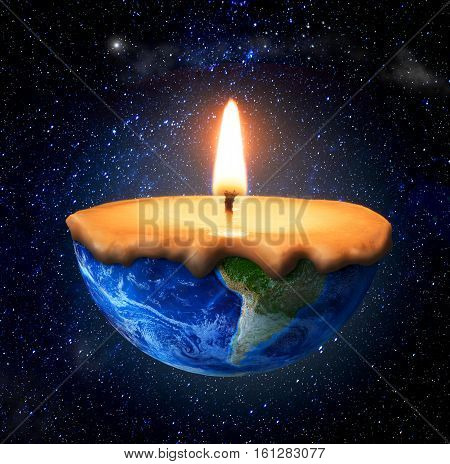 Eco concept. Half-burned planet in form of candle on the space background. Concept of consciousness. Save the planet.