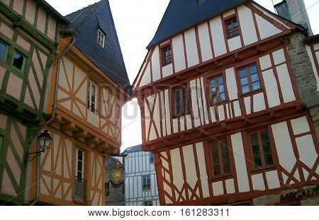 Half-timbered houses in brittany in the vannes city in France