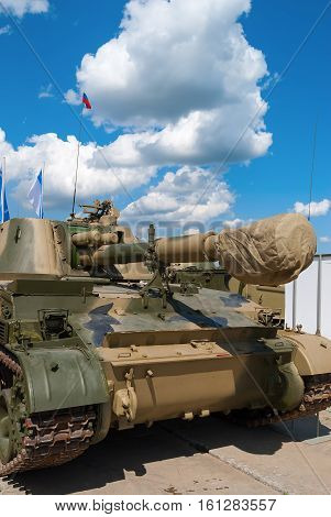 Nizhniy Tagil, Russia - July 12. 2008: RAE-2008 exhibition. The modernized self-propelled howitzer the Acacia with an automated fire control system ASUNO. Product 2C3M2