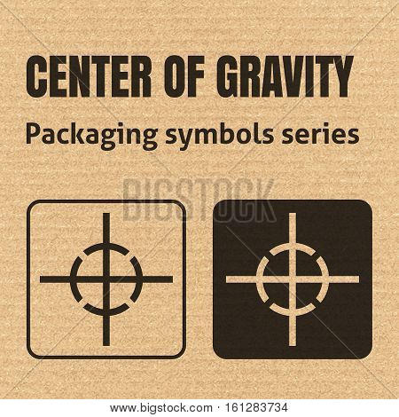 Center Of Gravity Packaging Symbol On A Corrugated Cardboard Background. For Use On Cardboard Boxes,