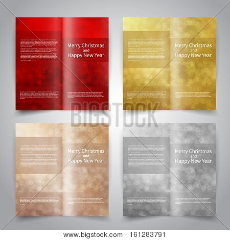 Brochure design templates set with abstract background with snowflakes and bokeh lights. Red, gold, bronze, silver colors. Merry Christmas and Happy New Year vector brochure mockup EPS10