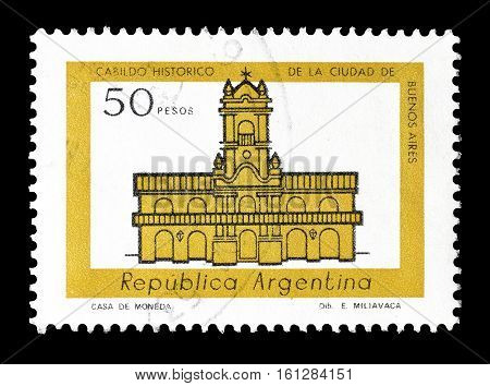 ARGENTINA - CIRCA 1977 : Cancelled stamp printed by Argentina, that shows City hall in Buenos Aires.