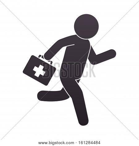 paramedic running with medical kit vector illustration design