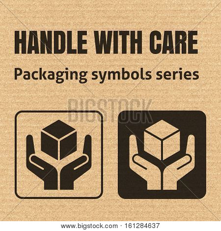 Handle With Care Packaging Symbol On A Corrugated Cardboard Background. For Use On Cardboard Boxes,