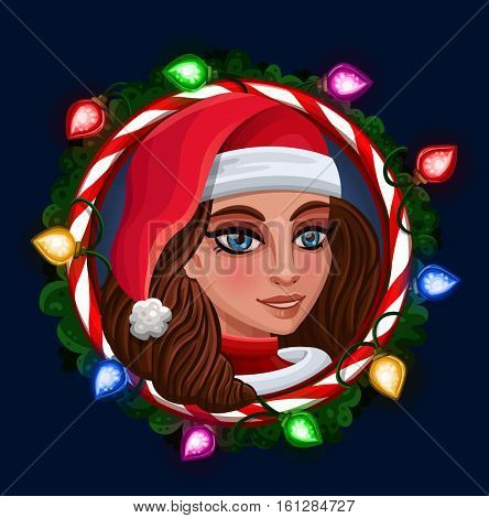 Christmas Girl in frame. Vector illustration