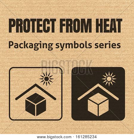 Protect From Heat Packaging Symbol On A Corrugated Cardboard Background. For Use On Cardboard Boxes,