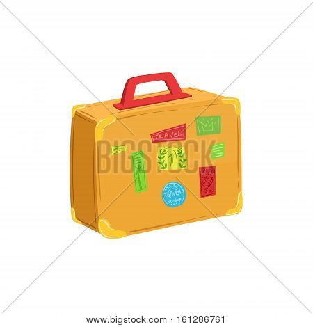 Vintage Suitcase With Travel Stickers And Stamps Item From Baggage Bag Cartoon Collection Of Accessories. Personal Travelling Luggage Piece Isolated Vector Icon.