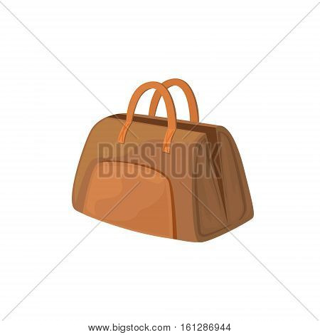 Open Leather Female Purse Item From Baggage Bag Cartoon Collection Of Accessories. Personal Travel Luggage Piece Isolated Vector Icon.