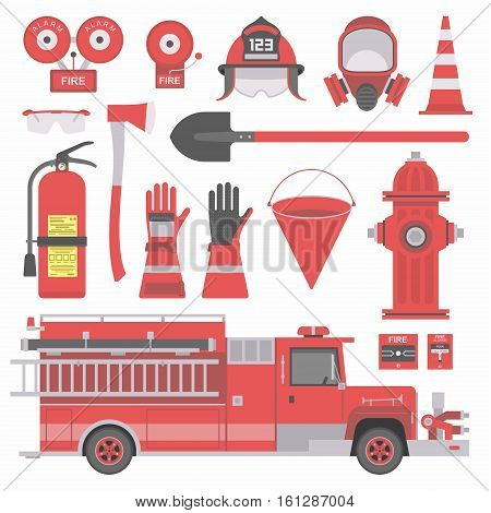 Collection of flat firefighter icons and symbols. vector illustration