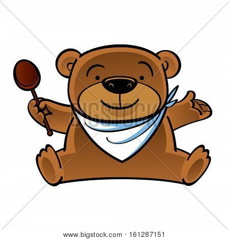 Sitting funny teddy bear with wooden spoon