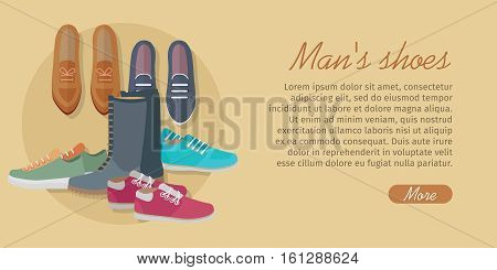 Men s shoes. Stylish footwear for man. Boots athletic shoes, casual footwear. Loafers. Dress boots. Work boots. Chukkas. Duck boots. Gym sneakers. Slippers. Boatshoes Autumn winter collection Vector