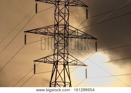 High tension power line with mystic atmosphere