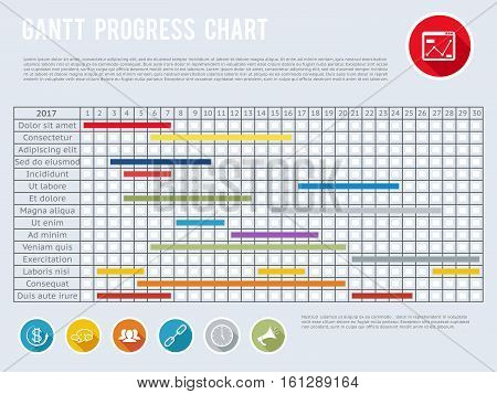 Project schedule chart or progress planning timeline graph. Gantt progress planning, gantt chart structure organization illustration
