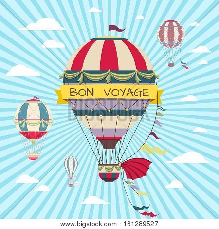Retro card with hot air balloon. Vintage bon voyage poster with air balloon in sky, travel on hot air balloon illustration