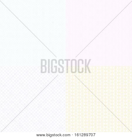 Vector guilloche textures watermark for diplomas and certificates, banknotes and vouchers. Guilloche watermark slightly visible illustration