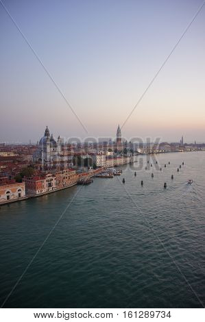 View over Venice from a cruise ship