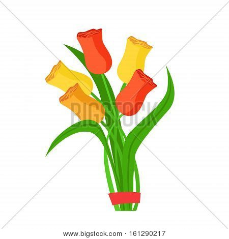 Colorful Tulips Flower Bouquet Tied With Red Ribbon, Flower Shop Decorative Plants Assortment Item Cartoon Vector Illustration. Natural Floral Composition From Florist Store Isolated Item.