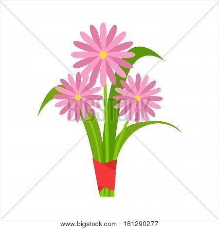 Pink Orangery Camomile Flower Bouquet Tied With Red Ribbon, Flower Shop Decorative Plants Assortment Item Cartoon Vector Illustration. Natural Floral Composition From Florist Store Isolated Item.