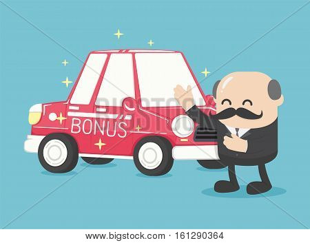 Boss businessman give a car is RedGifts for the New Year excellent for business Gifts bonus