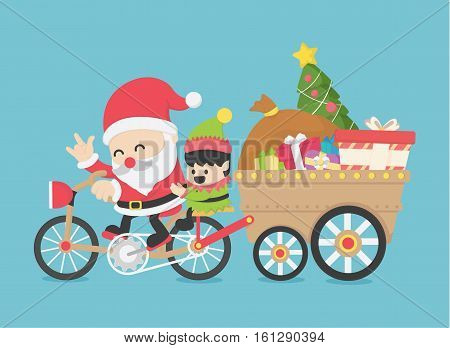 Christmas Santa Claus driving a bike have Elves go together on new year's day