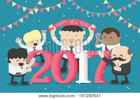 Group of Business celebrating New Year happy numbers 2017 On a club party