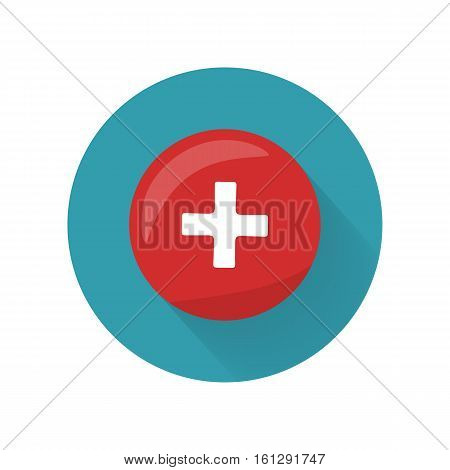 Red cross icon on the button. First medical aid ambulance sign symbol. Hospital emblem. Red cross aid. Flag of Switzerland on round circle. Health care concept. Pharmaceutical crest. Vector