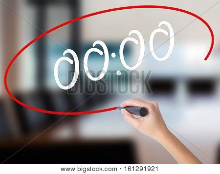 Woman Hand Writing 00:00  With A Marker Over Transparent Board