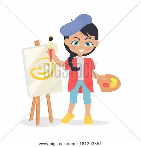 Girl drawing on easel isolated on white. Adorable little girl has leisure time. Young painter at drawing lesson. Toddler at playground draws a picture in flat style design. Daily activity. Vector