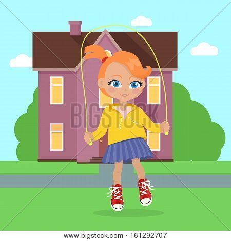 Girl jumping on rope near home. Adorable little girl has leisure time. School girl during break. Young lady at playground, going in for sport, playing, walking. Daily activity. Vector