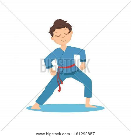 Boy Doing Meditative Tai Chi Exercise In Blue Kimono On Karate Martial Art Sports Training Cute Smiling Cartoon Character. Part Of Kids Fighters In Traditional Asian Karate Outfit Collection Of Vector Illustrations
