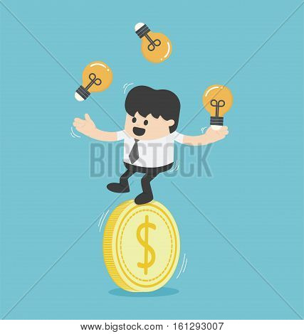 Concept businessman juggling with light bulbs on a dollar coins