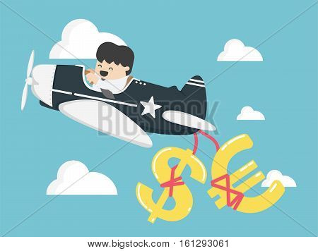 Concept businessman flying a plane have money dollar and euro