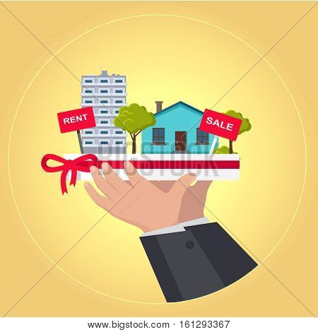 Real estate concept vector. Flat design. Hands holding salver with houses, trees, rent and sale signs on it. Illustration for real estate company advertising, housing concepts. On yellow background.