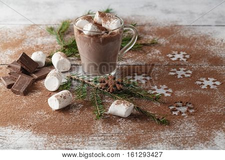 Hot Drink With Cocoa Snowflake
