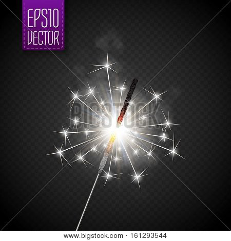Christmas sparkler set. Vector eps10 illustration for your design
