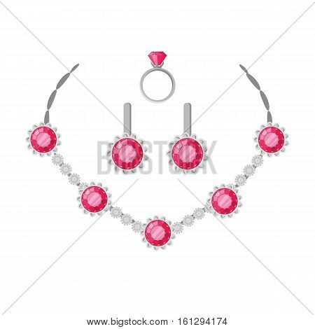 Jewelry set necklace, ring and earrings isolated on white. Beautiful women luxury silver set with precious red stone. Includes necklace, earrings and ring. Collection of elegant accessories. Vector